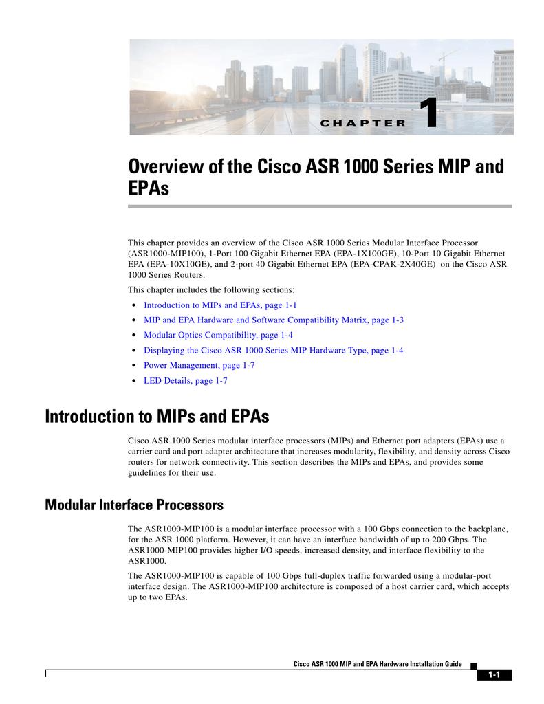 1 Overview of the Cisco ASR 1000 Series MIP and EPAs | manualzz com