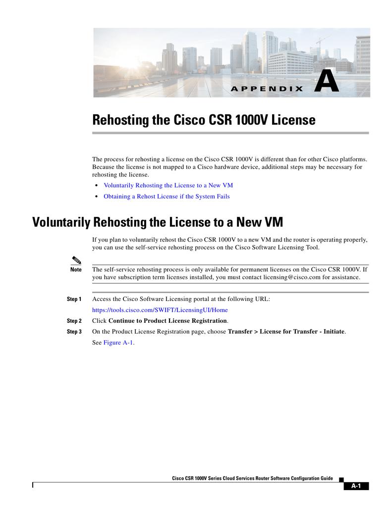 A Rehosting the Cisco CSR 1000V License | manualzz com