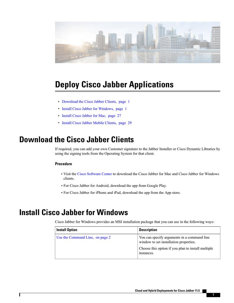 Deploy Cisco Jabber Applications | manualzz com