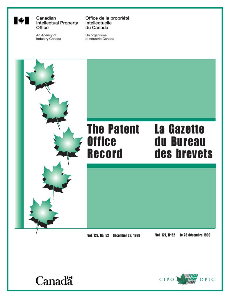 Gazette Office The Patent Du Bureau La lFJcTK1