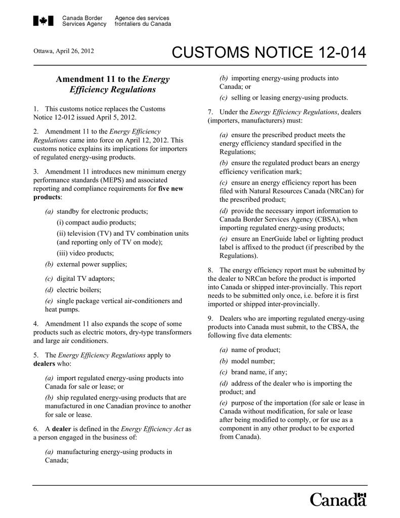 CUSTOMS NOTICE 12-014 Energy Efficiency Regulations | manualzz com