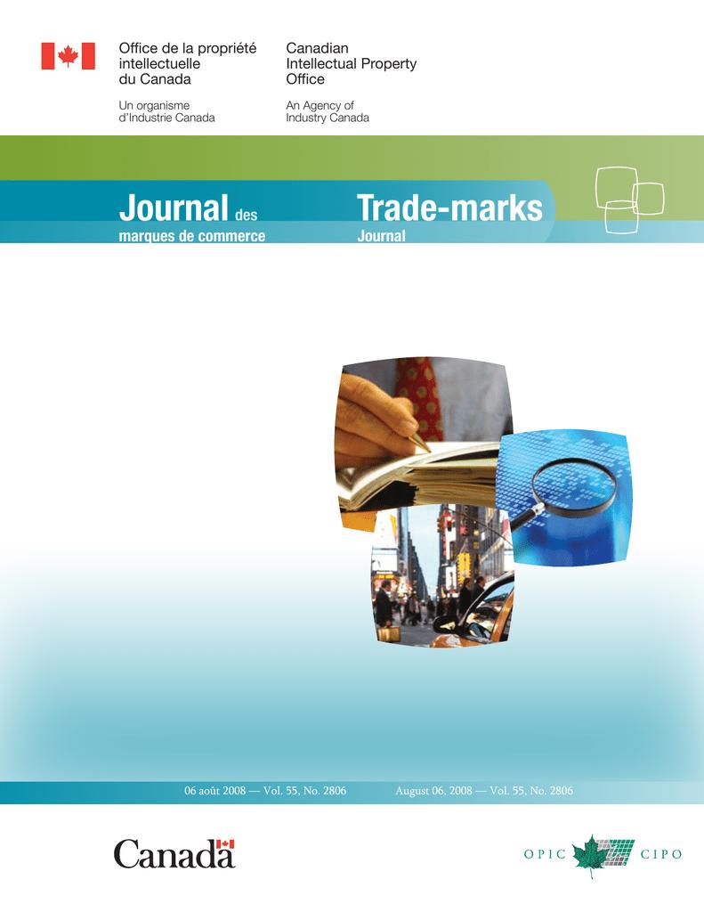 Trade-marks Journal marques de commerce des  3598f67cf27