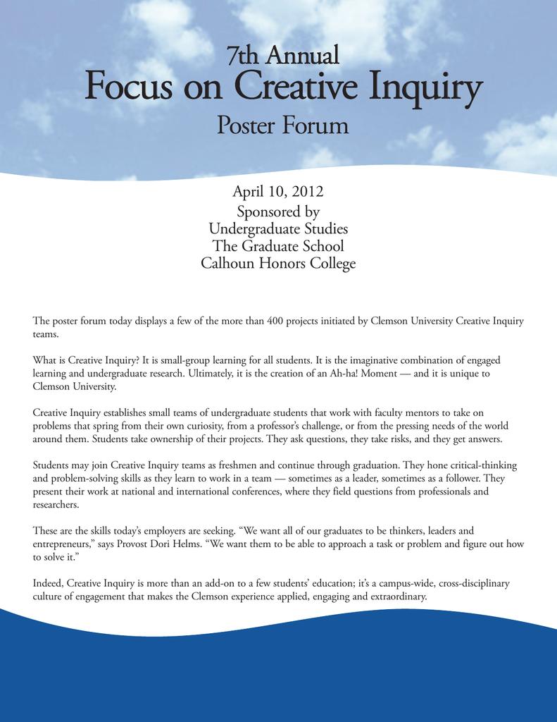 Focus on Creative Inquiry 7th Annual Poster Forum April 10