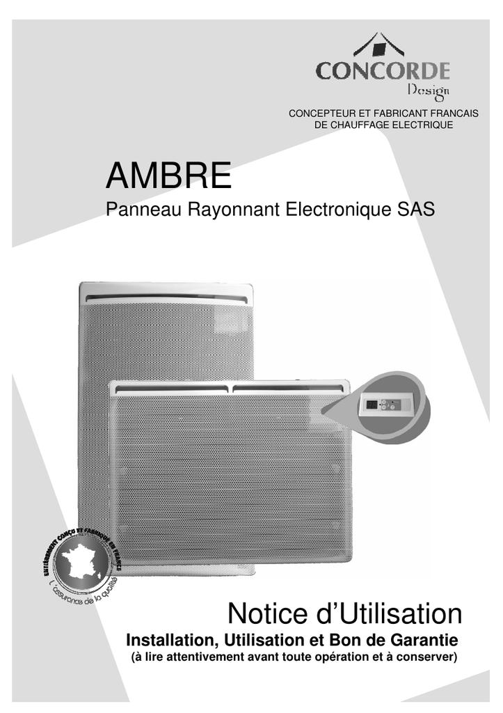 Ambre Notice D Utilisation Panneau Rayonnant Electronique