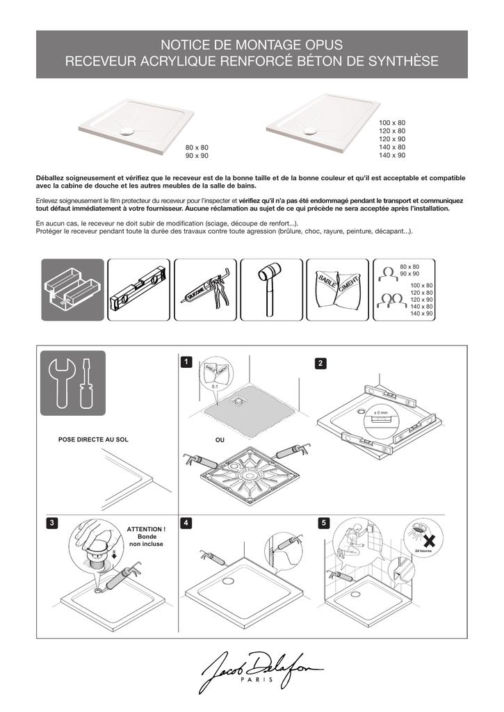 Notice De Montage Opus Receveur Acrylique Renforcé Béton De Synthèse