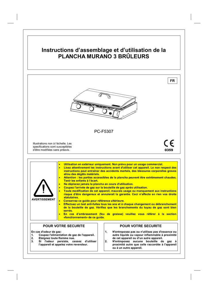 Instructions Dassemblage Et Dutilisation De La Plancha