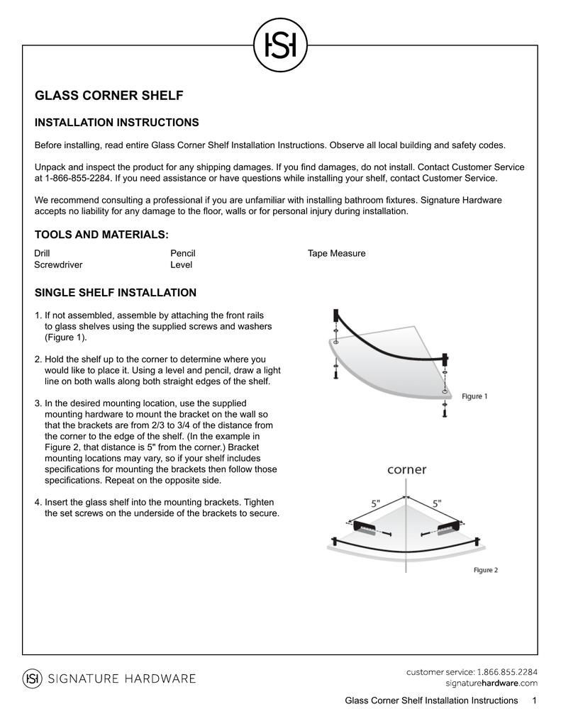 Glass Corner Shelf Installation Instructions Manualzz Com
