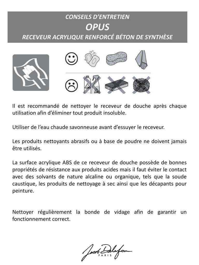 Beton De Synthese Avis opus conseils d'entretien receveur acrylique renforcÉ bÉton