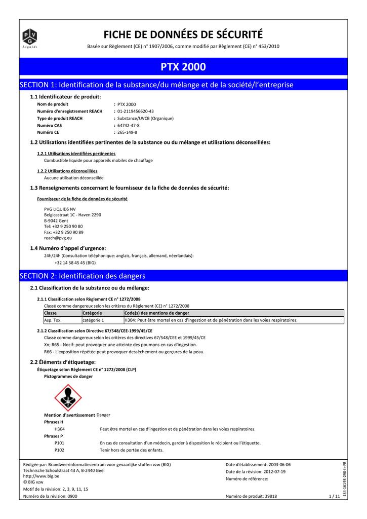 Ptx 2000 Fiche De Données De Sécurité Manualzz Com