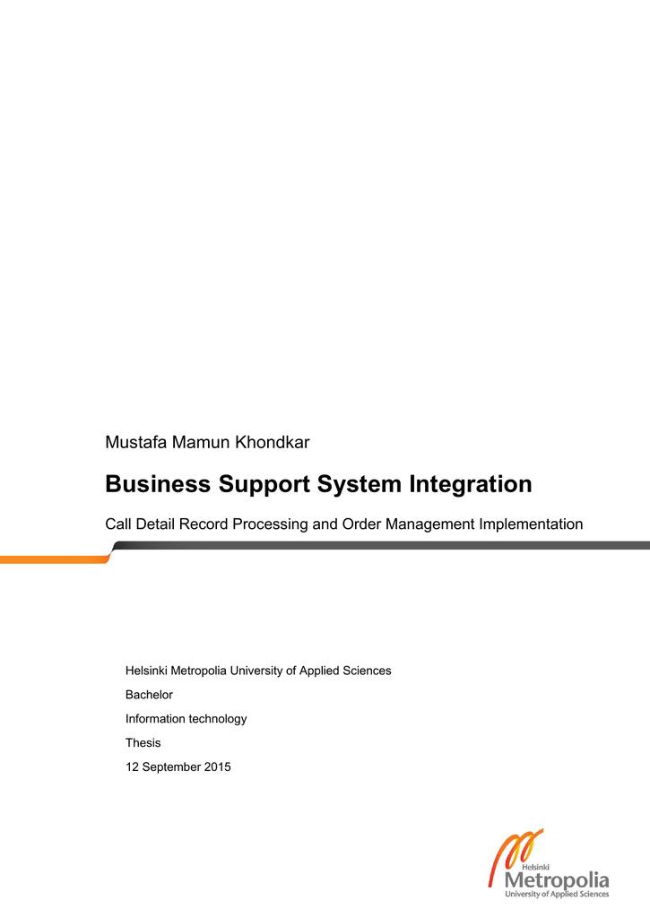 Business Support System Integration Mustafa Mamun Khondkar