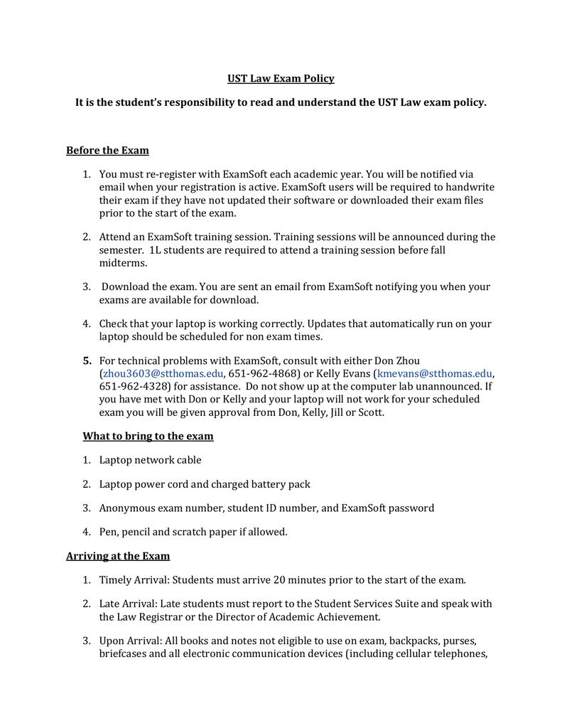 UST Law Exam Policy | manualzz com