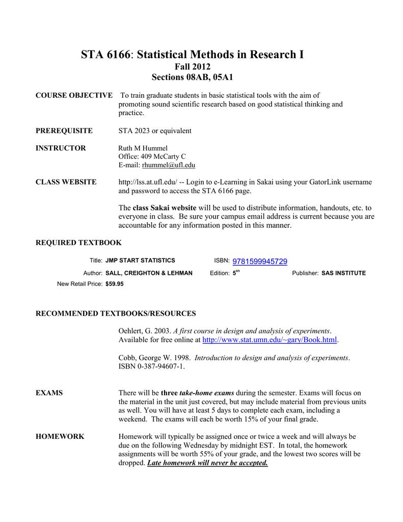 STA 6166 Fall 2012 Sections 08AB, 05A1 | manualzz com