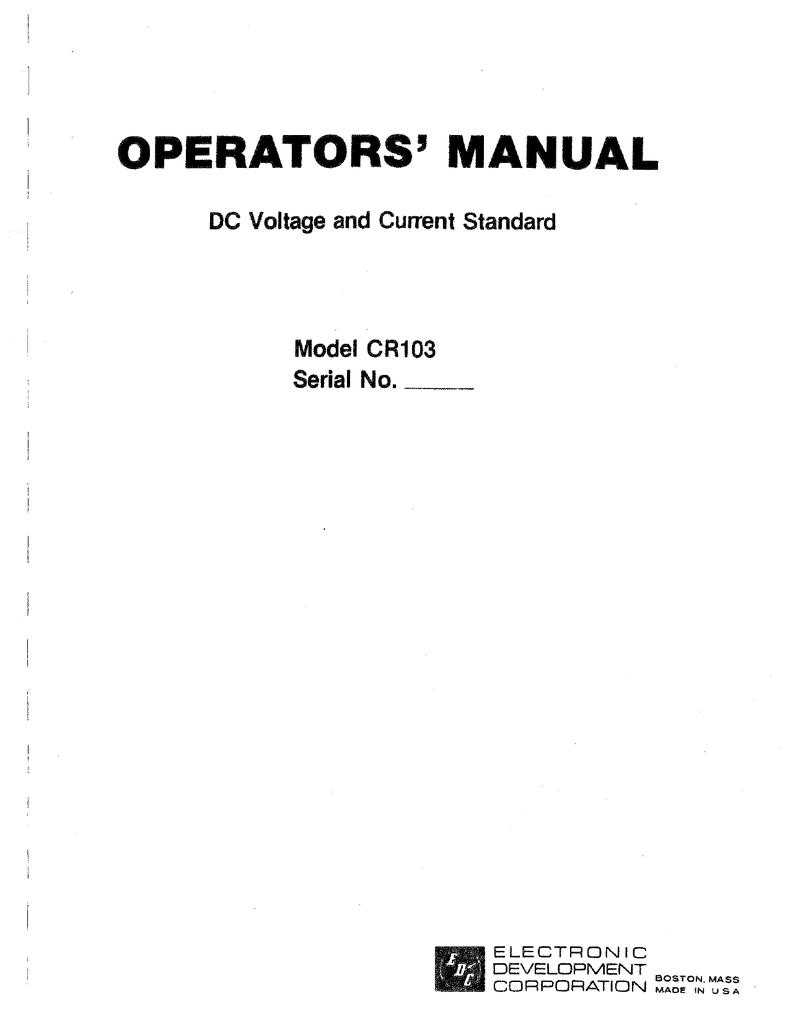 EDC CR103 Operating amp; Service.pdf | Manualzz