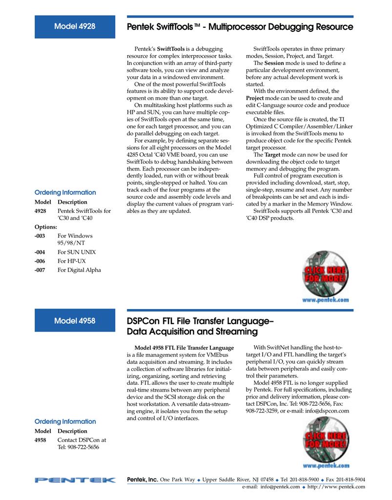 Pentek SwiftTools - Multiprocessor Debugging Resource Model 4928