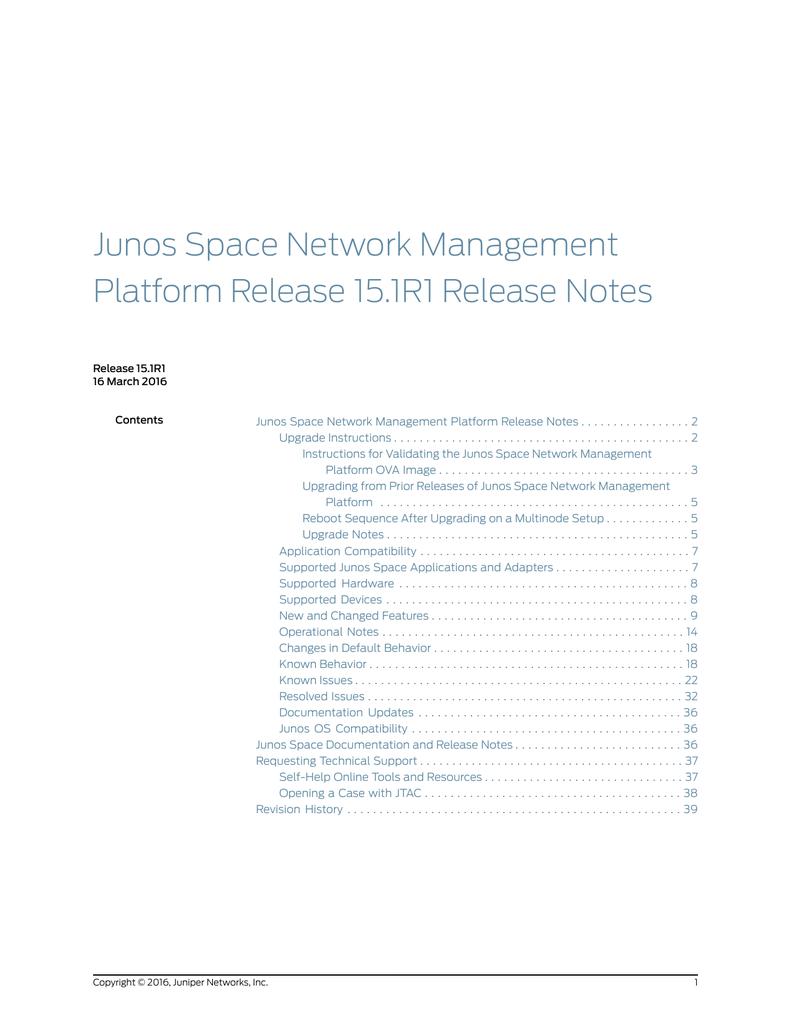 Junos Space Network Management Platform Release Notes 15 1R1