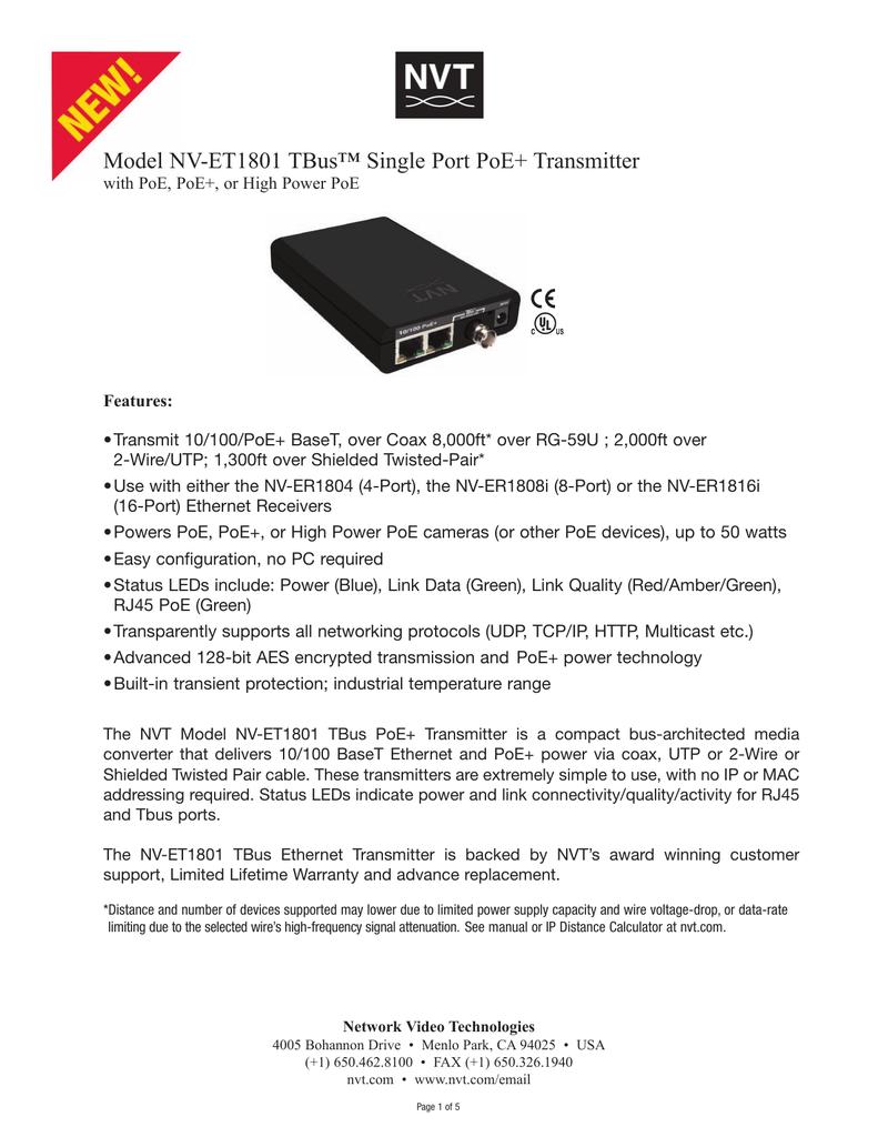 NVT NV-ET1801 TBus 1-Port PoE Transmitter