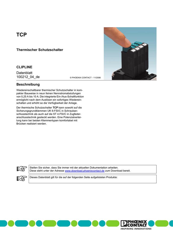 Phoenix Contact thermischer Geräteschutzschalter TCP 0,1A steckbar in UK 6-FSI//C
