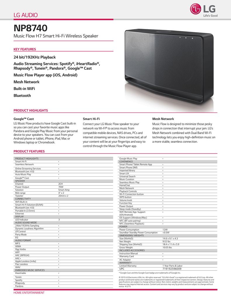 NP8740 LG AUDIO Music Flow H7 Smart Hi-Fi Wireless Speaker