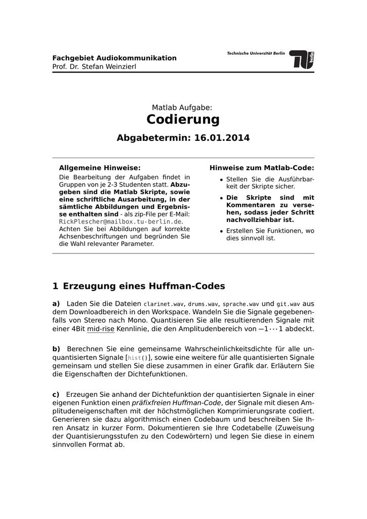 2  Matlab-Aufgabe (PDF, 73,1 KB) | manualzz com