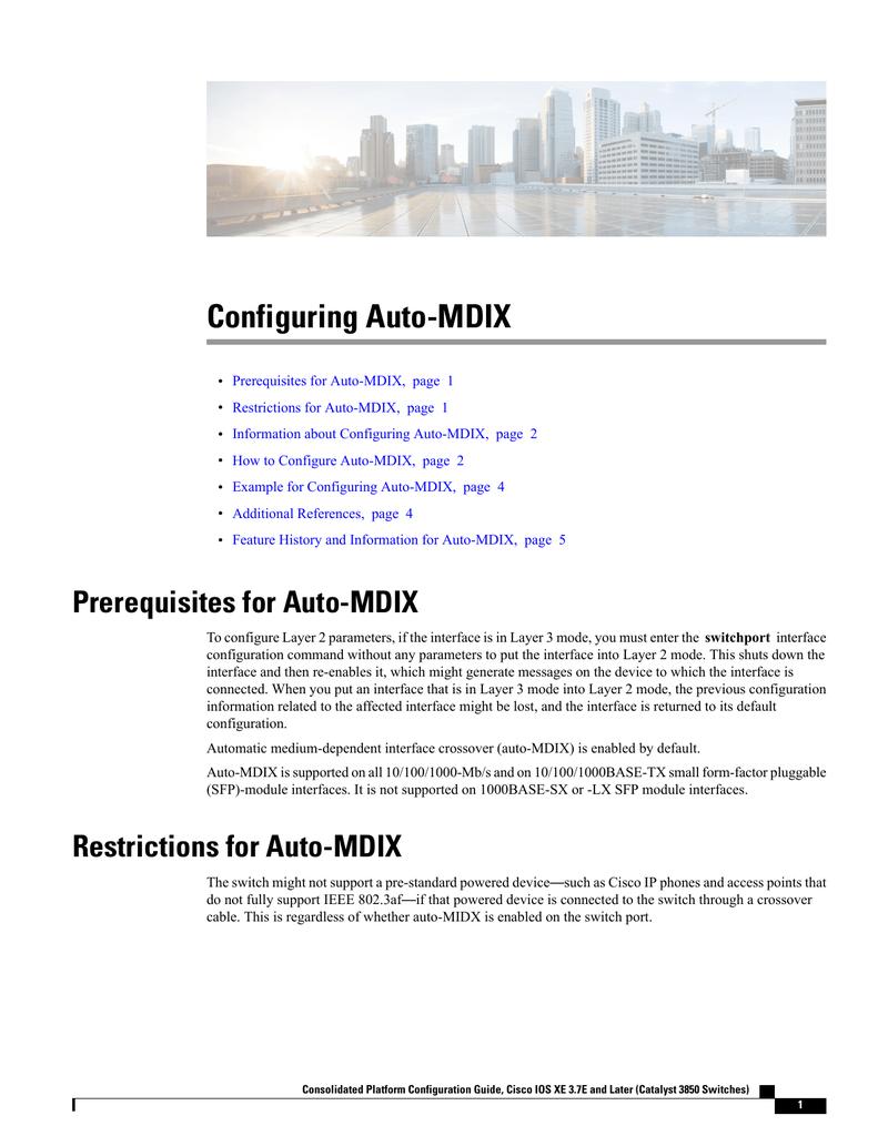 Configuring Auto-MDIX | manualzz com
