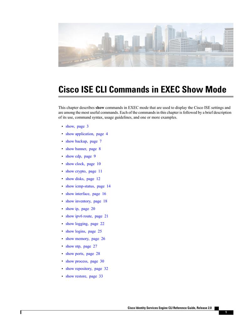 Cisco ISE CLI Commands in EXEC Show Mode | manualzz com