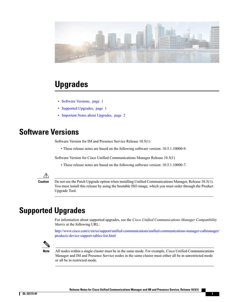 Upgrades Software Versions | manualzz com