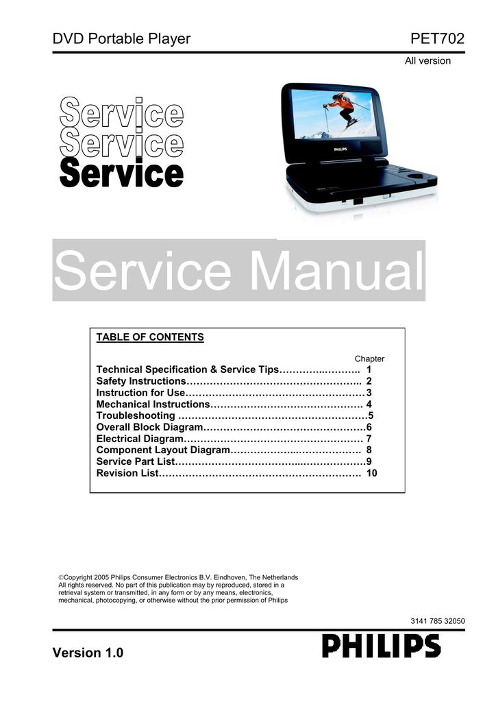 service manual dvd portable player pet702 manualzz com rh manualzz com DVD Player Philips Dvp598 Philips Portable DVD Player Manual