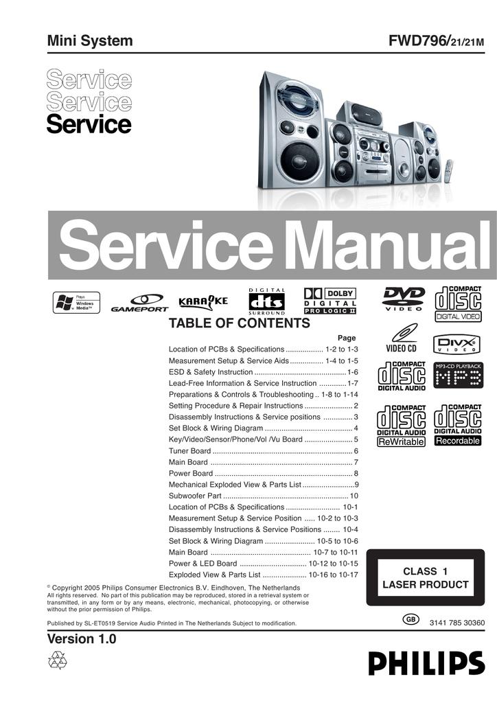 Service Manual Service FWD796/ | manualzz com