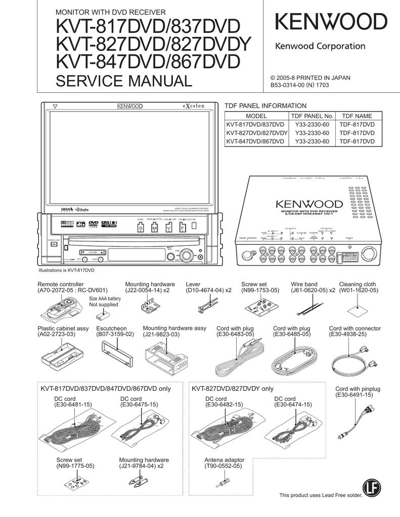 KVT-817DVD/837DVD KVT-827DVD/827DVDY KVT-847DVD/867DVD SERVICE MANUAL