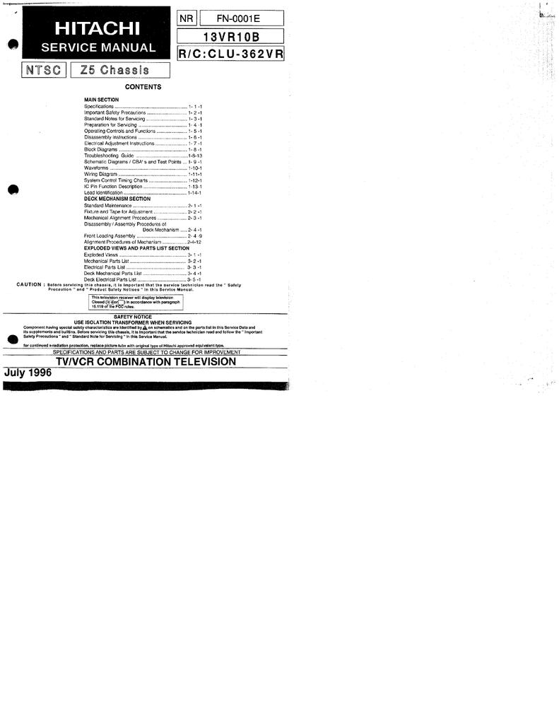 Download Hitachi Service Manual 13vr10b Repair Manual