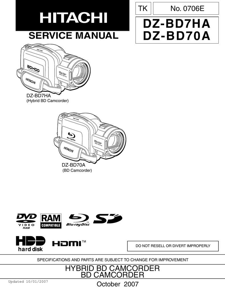 Hitachi dz mv380a manual.