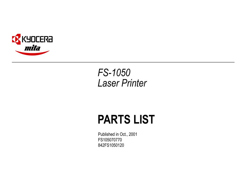 PARTS LIST FS-1050 Laser Printer | manualzz com