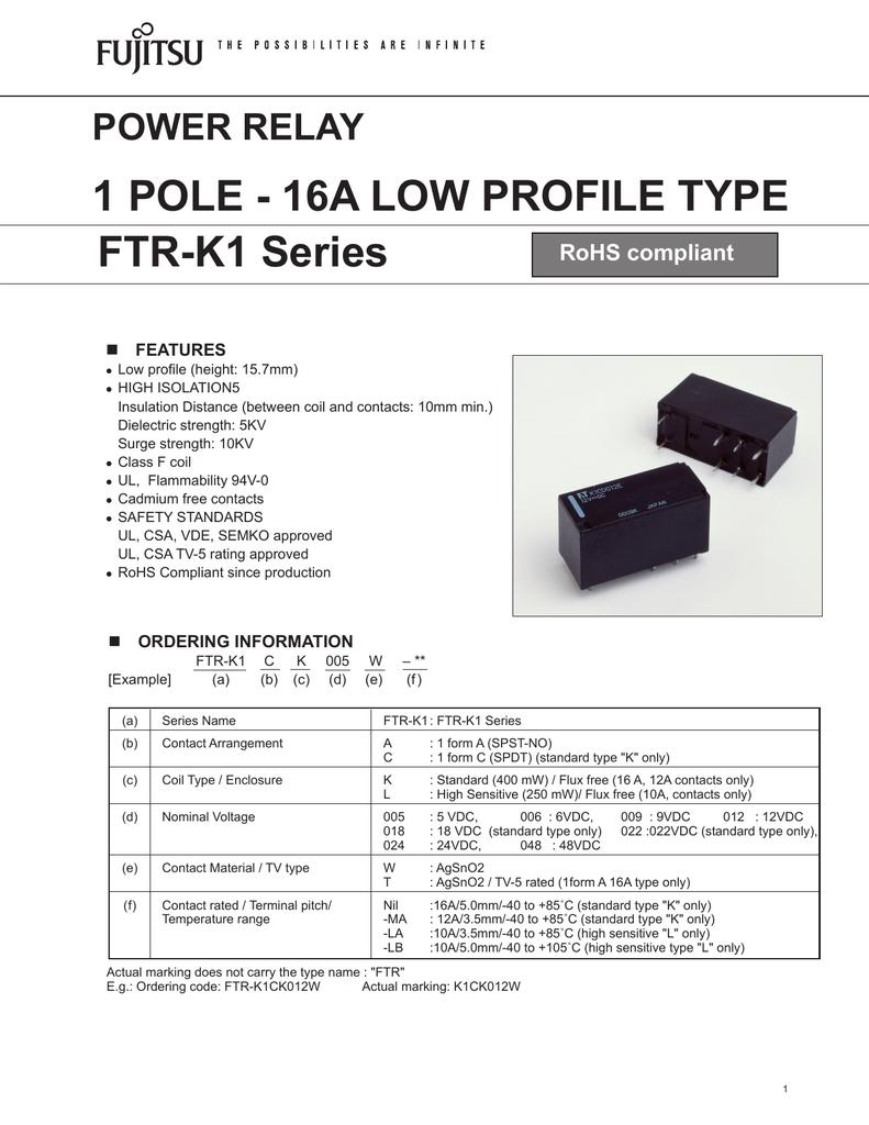 1 POLE - 16A LOW PROFILE TYPE FTR-K1 Series POWER RELAY FTR