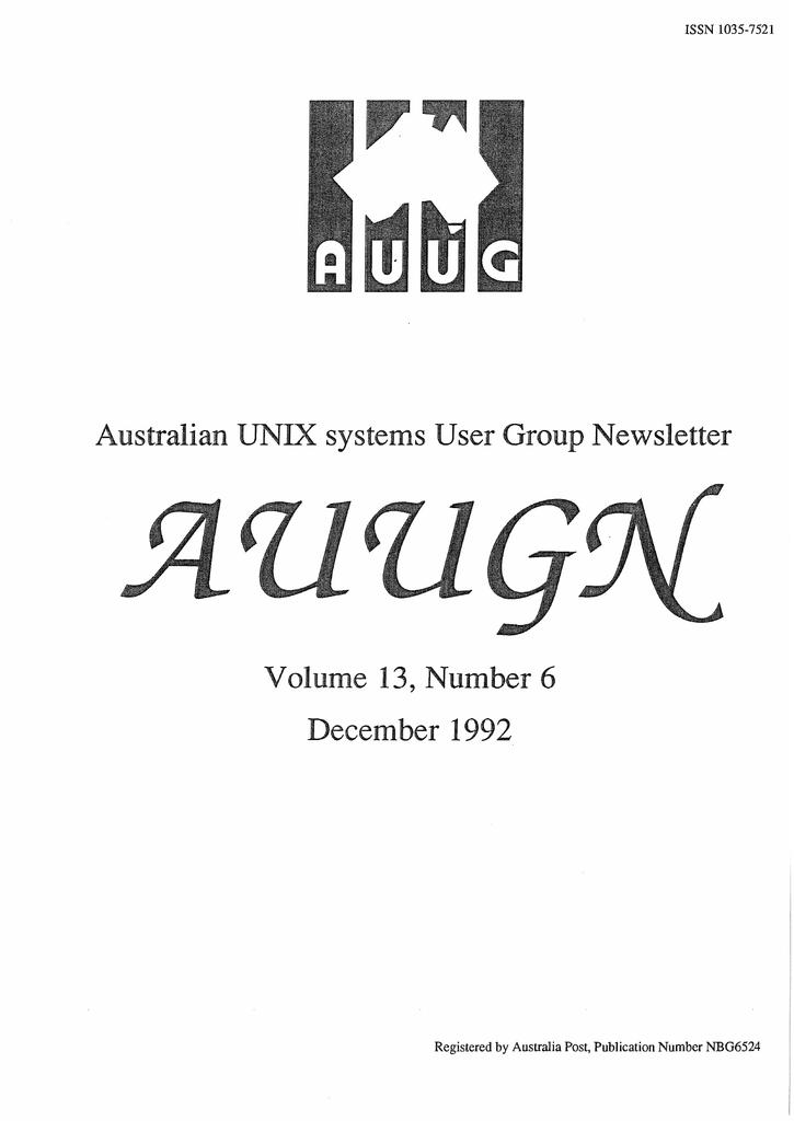 December 1992 Australian UNIX systems User Group Newsletter