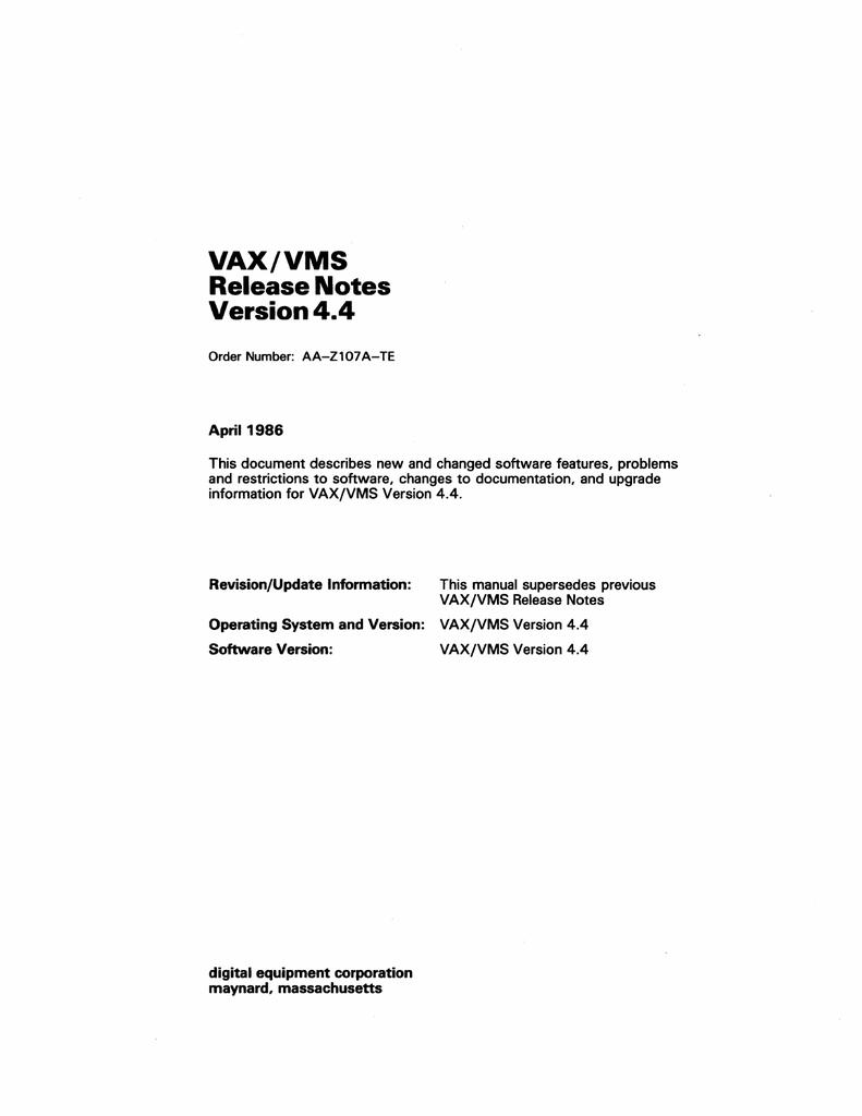 AA-Z107A-TE_VMS_4.4_Release_Notes_Apr86.pdf | Manualzz
