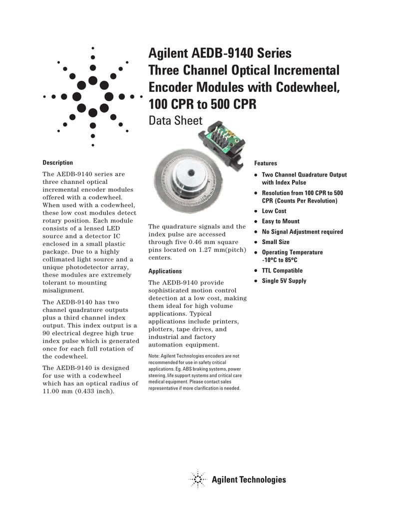 Agilent AEDB-9140 Series Three Channel Optical Incremental