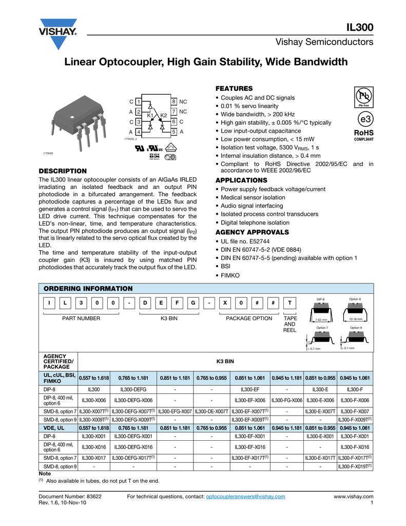 VISHAY SEMICONDUCTOR IL300-DEFG-X016 OPTOCOUPLER 50 pieces