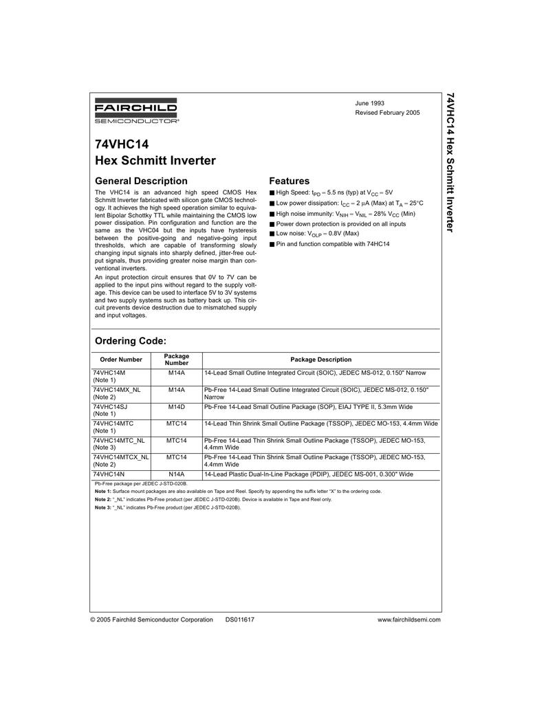 74VHC14 Hex Schmitt Inverter 7 4 | manualzz com