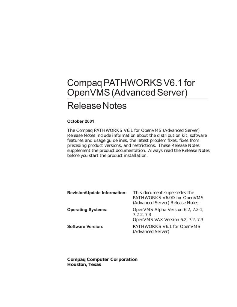 Compaq PATHWORKS V6 1 for OpenVMS (Advanced Server) Release
