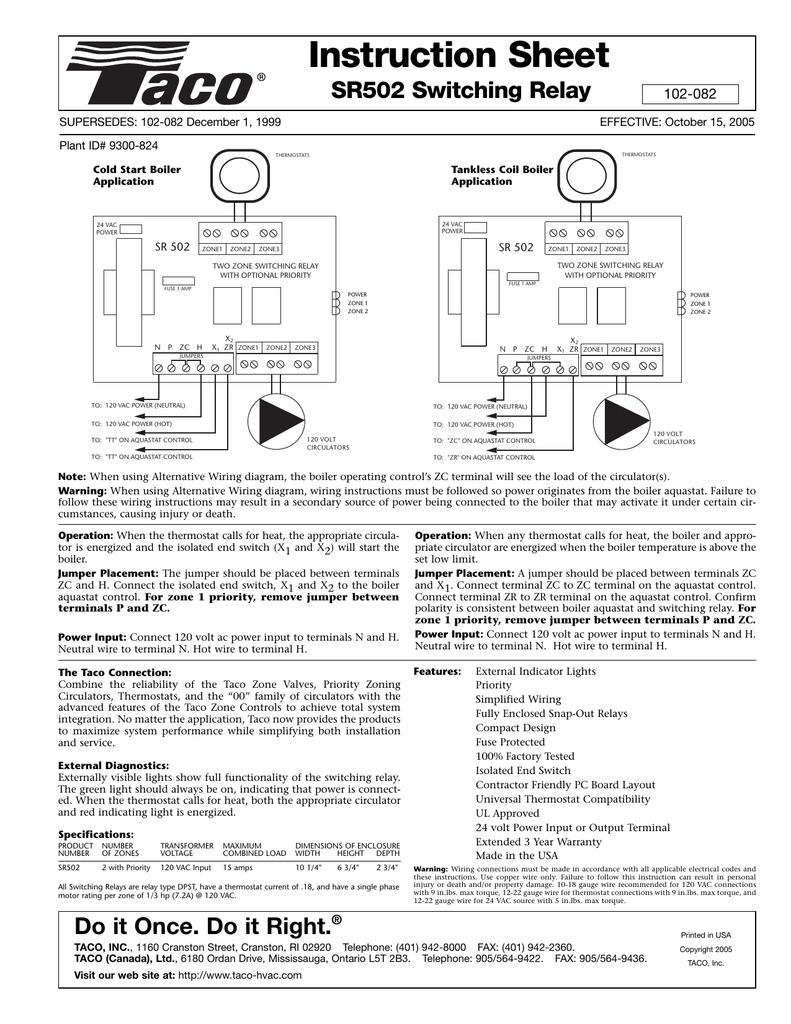 Instruction Sheet SR502 Switching Relay 102-082 | manualzz com