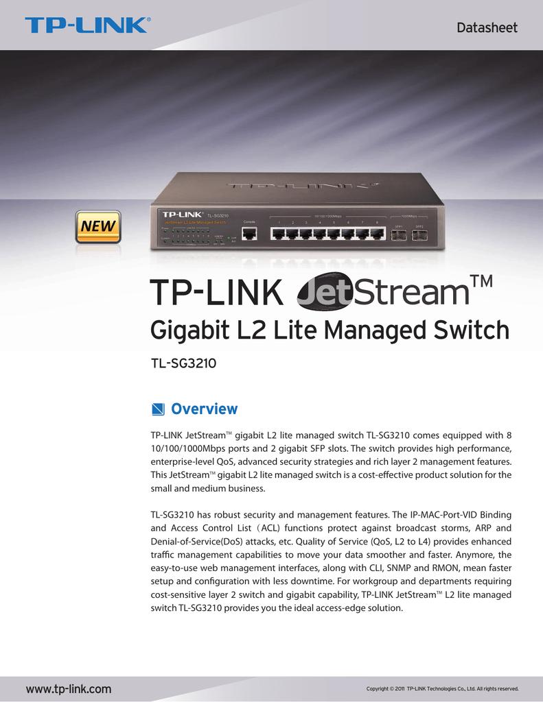 TL-SG3210 TP-Link 8-Port Gigabit Ethernet L2 Managed Switch with 2-SFP Slots
