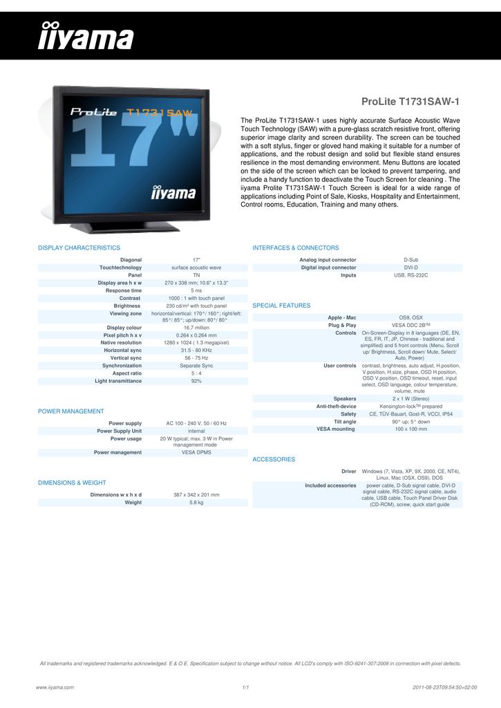 ProLite T1731SAW-1 | manualzz com