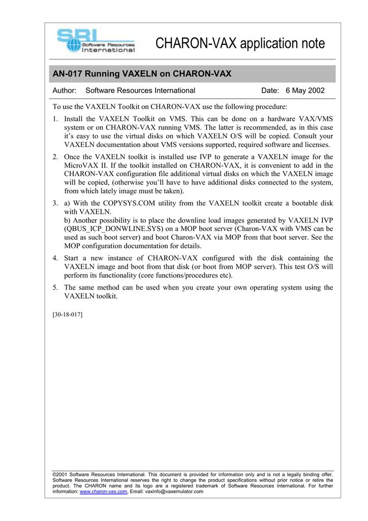 CHARON-VAX application note AN-017 Running VAXELN on CHARON