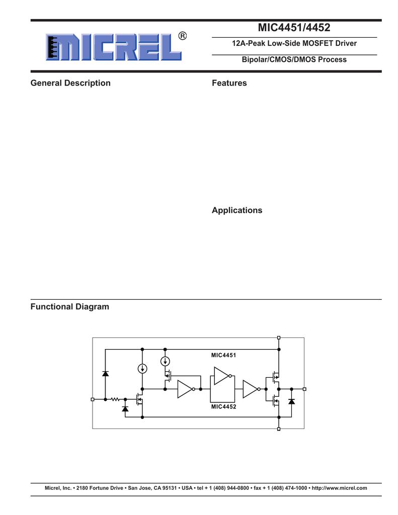 MICREL MIC4452BN DIP-8 12A-Peak Low-Side MOSFET Driver