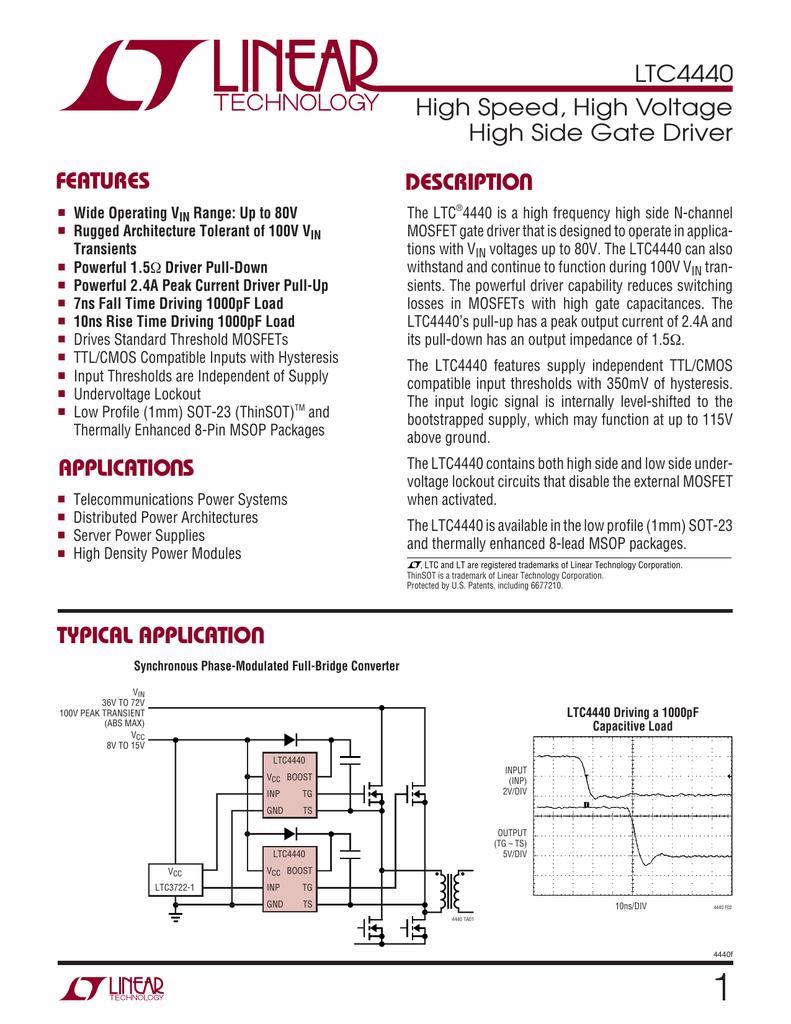 LTC40 High Speed, High Voltage High Side Gate Driver   Manualzz