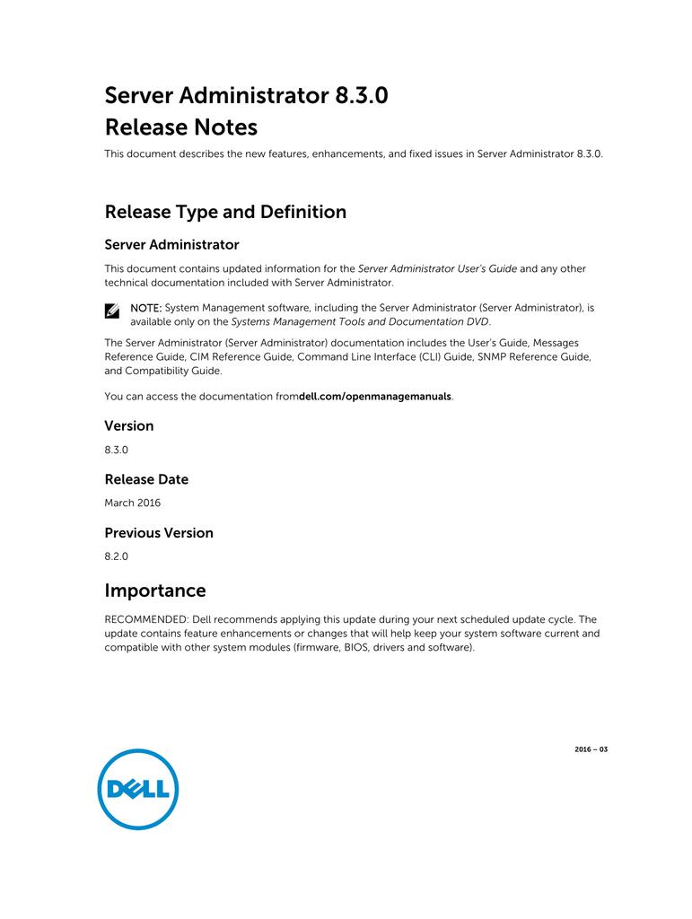 Server Administrator 8 3 0 Release Notes | manualzz com