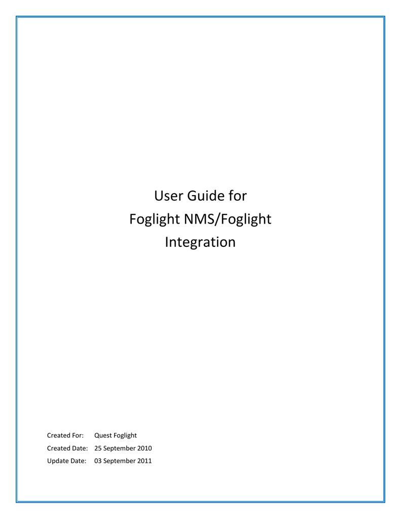 User Guide for Foglight NMS/Foglight Integration   manualzz com
