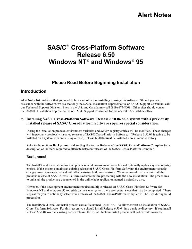 Alert Notes SAS/C Cross-Platform Software Release 6 50 | manualzz com