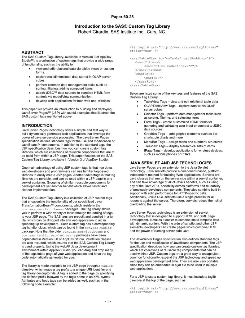 Introduction to the SAS® Custom Tag Library Paper 60-28 | manualzz com