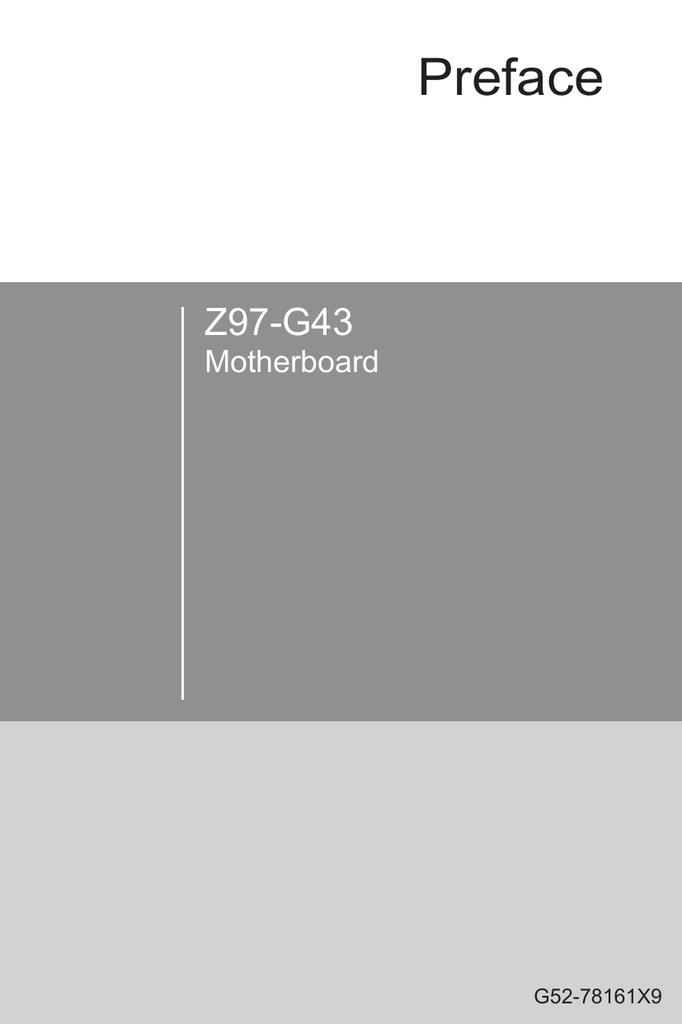 Preface Z97-G43 Motherboard G52-78161X9 | manualzz com
